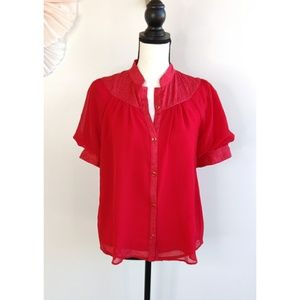 Anthropologie Maeve Lavoie Red Blouse